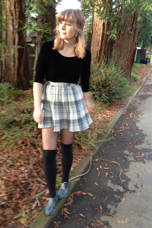 wool skirt - velvet shirt - over the knee socks - lace up oxfords flats