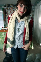 scottish scarf - Urban Renewal blouse - Forever 21 sweater - Aldo necklace