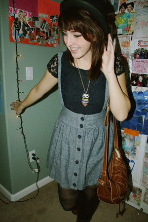 navy Forever 21 lace top - heather gray thrifted skirt - black Urban Outfitters
