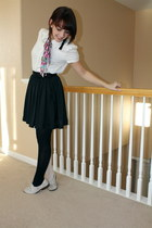White Thrifted blouse - Blue and White American Apparel tights - Black H&M skirt
