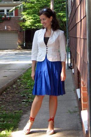 white banana republic blazer - brown Limited blouse - blue Old Navy skirt - oran