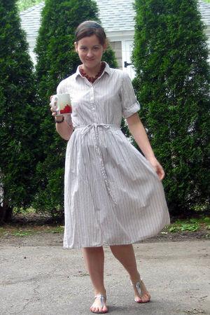 beige JCrew sale dress - silver JCrew shoes - orange 10000 Villages necklace - b