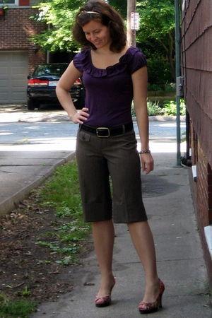 purple Limited shirt - brown banana republic shorts - black Target belt - orange
