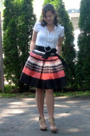 white LOFT old blouse - pink H&M skirt - beige BCBG via DSW shoes - white Foreve