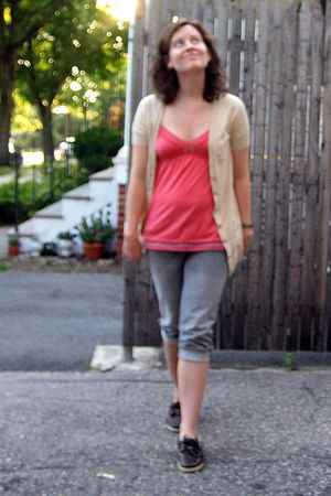 beige JCrew cardigan - pink American Eagle top - gray American Eagle jeans - bro