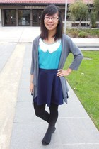 navy skirt - sky blue top - heather gray cardigan