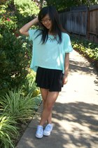 light blue top - black skirt