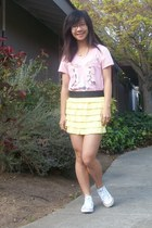 pink top - light yellow skirt - off white sneakers