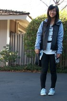 dark gray jacket - sky blue sneakers