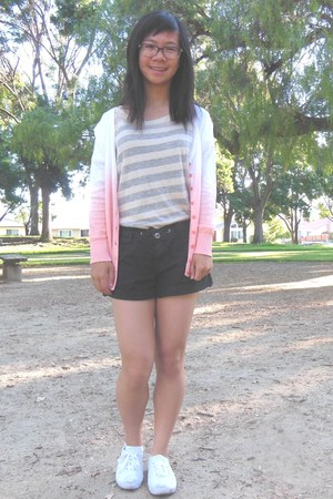 black shorts - light pink cardigan - off white top