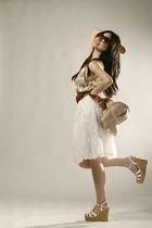 brown cotton on sunglasses - beige DKNY top - white GOWIGASA skirt - brown Mango