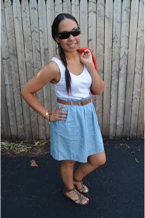 white Forever 21 dress - sky blue Forever 21 dress - coral H&amp;M cardigan - dark b