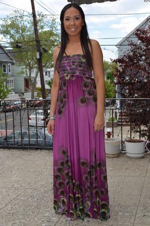 purple Forever 21 dress - tan wedges Nine West sandals