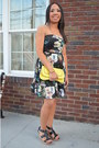 Black-charlotte-russe-dress-yellow-clutch-h-m-purse-black-nine-west-wedges