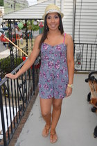 beige Macys hat - camel TJ Maxx sandals - light purple floral TJ Maxx romper