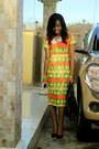 Ankara-dress-konga-bag-beaded-necklace-necklace-material-girl-pumps