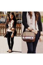 vintage no brand bag - skinny Primark jeans - black Sfera cardigan