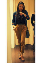 vintage no brand bag - Bershka shoes - quarter sleeves Bershka cardigan