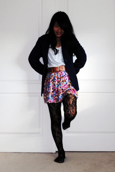 black Forever 21 tights - blue jacket - Forever 21 skirt