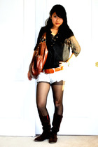 brown boots - black tights - blue Pac Sun shorts - brown Forever21 belt - black 
