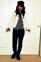 black shoes - black Wetseal jeans - black shirt - white jacket