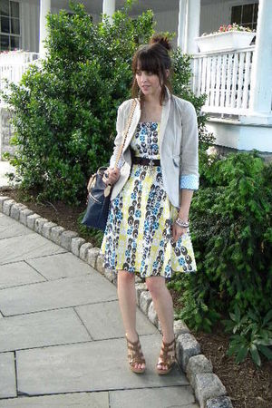 yellow unknown dress - brown Aldo shoes - beige Gap Outlet blazer - blue dooney