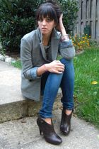 brown coach boots - blue Gap leggings - gray JCrew blazer - green Gap shirt