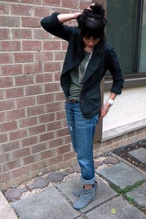 green Target shirt - blue Gap jeans - gray Aldo shoes - black JCrew blazer