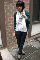 green Gap cardigan - gray Martin & Osa pants - gray JCrew top - black Steve Madd