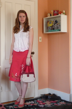 H&M blouse - Periscope skirt - cynthia rowley purse - BC footwear shoes