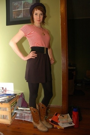 LLBean shirt - belt - skirt - Target leggings - boots - hat