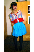 red Platos Closet cardigan - blue Goodwill skirt - pink Urban Outfitters glasses