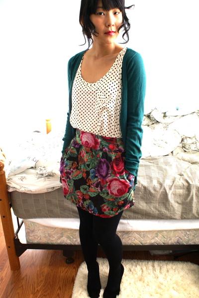 white Forever 21 top - green delias skirt - green Forever 21 cardigan