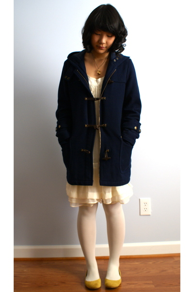 blue American Eagle jacket - white HUE tights - white Marshalls dress