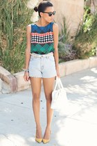 navy Trina Turk blouse - white shoemint purse - light blue Levis shorts
