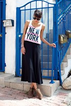 white Forever 21 top - light brown Jeffrey Campbell boots - black LnA skirt