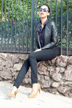 tan Top Shop pumps - black 7 for all mankind jeans - black Camilla & Marc jacket
