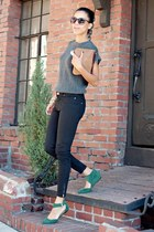 forest green Doris Apparel flats - black Zara jeans