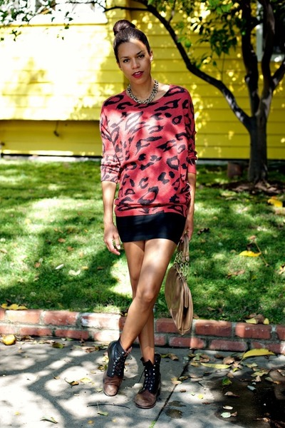 black vintage boots - black American Apparel dress - ruby red Forever 21 sweater