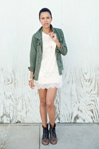 black thrifted boots - white Pinyotto dress - army green Urban Outfitters jacket