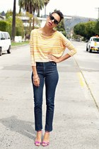 yellow Millie Loves Min top - blue H&M jeans - hot pink Marc Jacobs heels