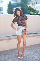 brown thrifted vintage top - light blue Levis shorts - white BCBG wedges