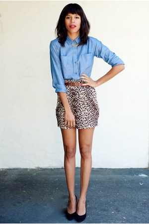 brown Urban Outfitters skirt - blue LnA shirt - black Dolce Vita pumps