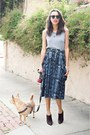 Brown-prada-boots-blue-scout-skirt-silver-american-apparel-t-shirt