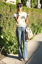 cream thrifted vintage top - sky blue madewell jeans - white BCBG wedges