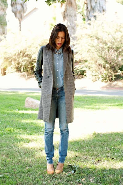 gray Zara coat - light blue Wrangler jeans - light blue BDG shirt