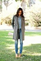 gray Zara coat - light blue Wrangler jeans - light blue BDG shirt