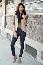 black American Apparel scarf - tan Lulus boots - black H&M pants