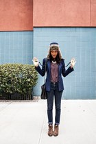 navy Maggy Frances blazer - brown Matisse Footwear boots - blue BDG jeans