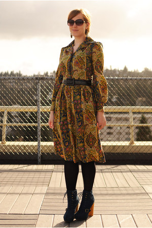mustard vintage dress - blue Steve Madden boots - navy coat